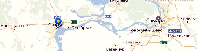 karta-syzran Город Сызрань в Самарской области Посреди РУ Самарская область