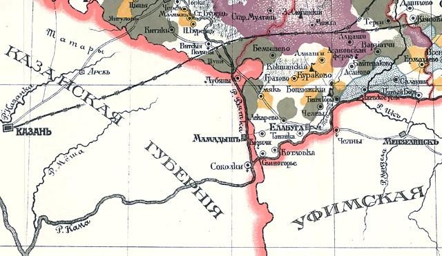karta-vjatskoj-gubernii-1916-jug-gubernii Город Елабуга (Татарстан) Посреди РУ Татарстан